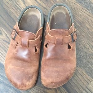 Birkenstock's brown leather clogs